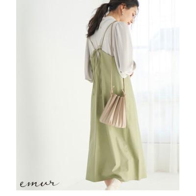 【emur】フェイクレザーキャミワンピース