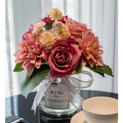 造花 バラ ダリア ガラスの花瓶入り リボン付き (ローズレッド)