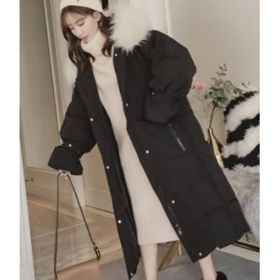 フェイクファー ダウンコート 黒 ブラック フード 可愛い  秋物 冬物 最新 レディース ファッション 2020 人気 可愛い 大人