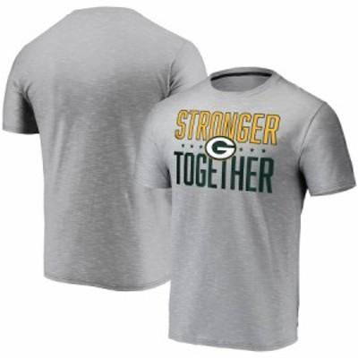 """メンズ Tシャツ """"Green Bay Packers"""" Stronger Together Space Dye T-Shirt - Gray"""