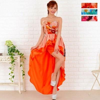 胸元ビジューテールカットロングドレス パーティードレス キャバドレス