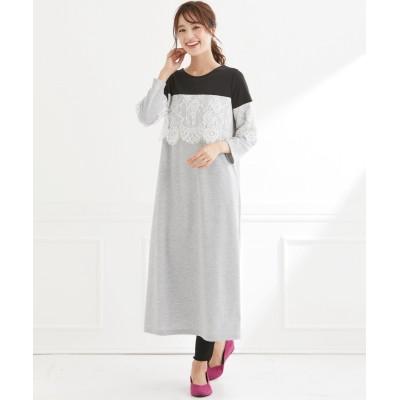 【大きいサイズ】 フェミニンストーリー 7分袖配色レース使いワンピース ワンピース, plus size dress