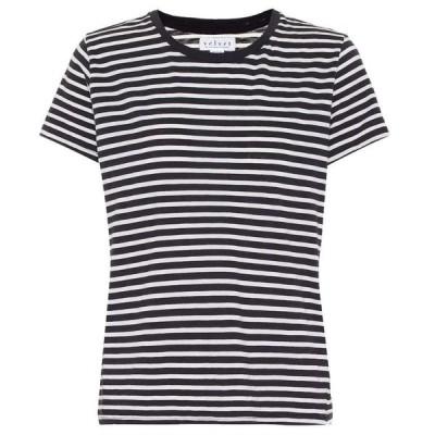 ベルベット グラハム&スペンサー Velvet レディース Tシャツ トップス Hadley striped cotton-blend T-shirt Navy