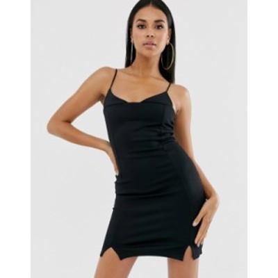 エイソス レディース ワンピース トップス ASOS DESIGN strappy cami mini dress with split hem detail Black
