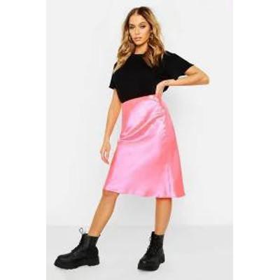 Boohoo レディーススカート Boohoo Neon Luxe Satin Bias Cut Midi Skirt pink