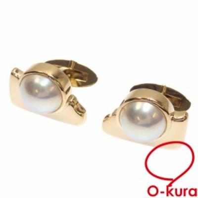 中古 マベパール カフス メンズ K18YG 19.1g 18金 750 イエローゴールド 真珠