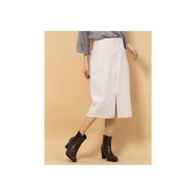 ウール両ポケタイトスカート (オフホワイト)