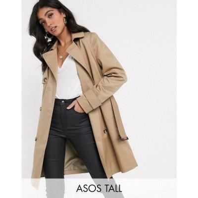 エイソス ASOS Tall レディース トレンチコート アウター ASOS DESIGN Tall trench coat in stone ベージュ