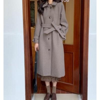 韓国 ファッション レディース ステンカラーコート ロングコート アウター リボン ゆったり 大人可愛い カジュアル 通勤 秋冬
