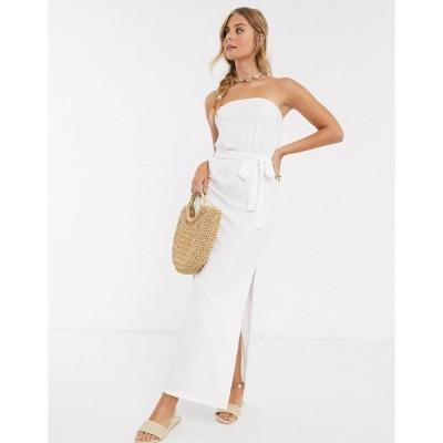 エイソス マキシドレス レディース ASOS DESIGN bandeau maxi dress with belt in white エイソス ASOS ホワイト 白