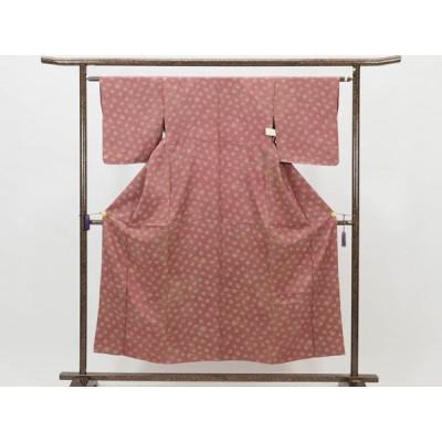 リサイクル着物 小紋 正絹紫ローズ地単衣小紋着物