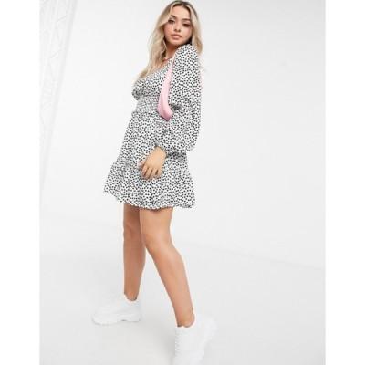 ミスガイデッド レディース ワンピース トップス Missguided shirred waist shift dress in ditsy floral print