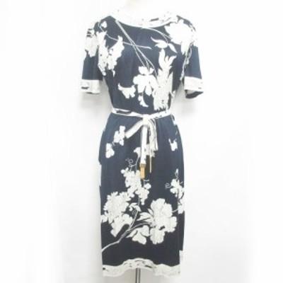 【中古】レオナール LEONARD カットソーワンピース シルク 花柄 半袖 ベルト付 装飾 紺 白 M RRR 1026 レディース