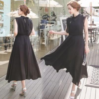 ノースリーブ シフォンドレス ラージサイズ ブラック ロングスカート 夏コーデ