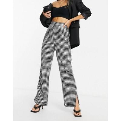 ナーナー NaaNaa レディース ボトムス・パンツ high waisted split hem tailored trousers in black dogtooth ブラック/ホワイト