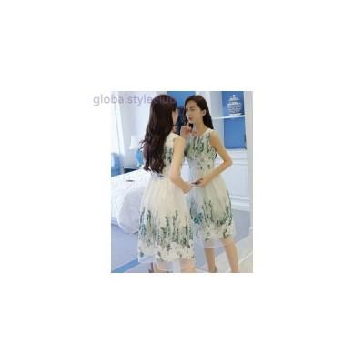 ノースリーブ ワンピース ひざ丈 ドレス パーティー 発表会 SMLXL シフォン 刺繍 ホワイト グリーン 白 緑