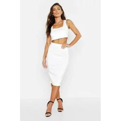 Boohoo レディーススカート Boohoo Square Neck Top & Midi Skirt ivory
