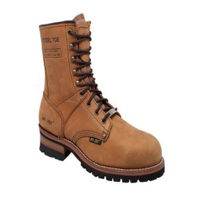 """アドテック メンズ ブーツ&レインブーツ シューズ Men's 9"""" Steel Toe Logger Boot Camel"""