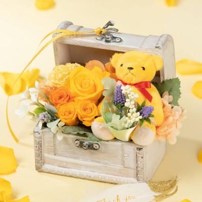 プリザーブドフラワー「チアフルベアからの贈り物」 花 ギフト プレゼント フラワーギフト 贈り物