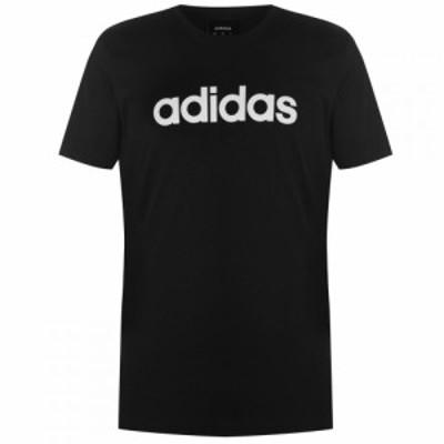 アディダス adidas メンズ Tシャツ ロゴTシャツ トップス Linear Logo T Shirt Black/RawWhite