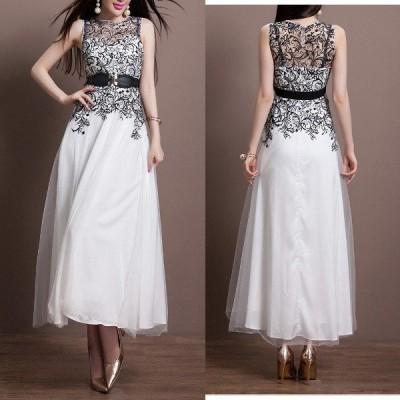 ノースリーブ♪シースルーボタニカル刺繍ベルト付ロングドレス