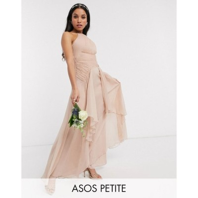 エイソス ASOS Petite レディース ワンピース マキシ丈 ASOS DESIGN Petite Bridesmaid pinny maxi dress with ruched bodice and layered skirt detail