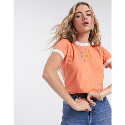 トップショップ Topshop レディース Tシャツ トップス t-shirt in orange オレンジ