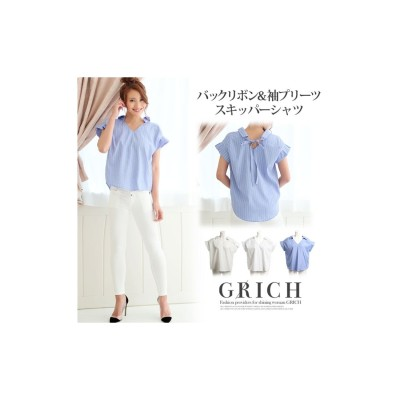 GROWING RICH バックリボン袖プリーツスキッパーシャツ ホワイト