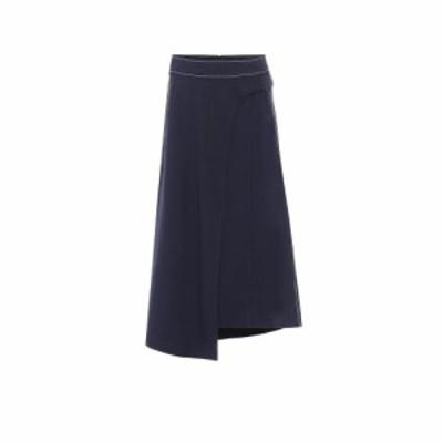 コロボス COLOVOS レディース ひざ丈スカート スカート x Woolmark wool-blend skirt Dark Blue