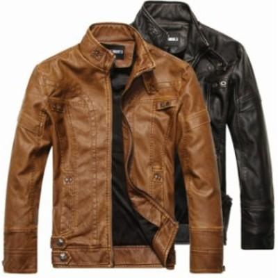 革ジャケット バイクジャケット ライダースジャケット 裏起毛 防寒暖かい ジャンバー アウター
