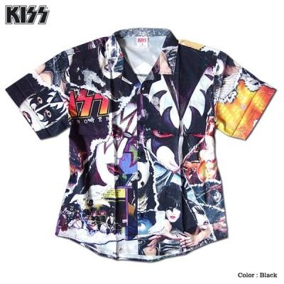KISS キッス シャツ 半袖シャツ グッズ メンズ ブラック 総柄 コラージュ プリント 派手 ボタン ハワイアンシャツ アロハシャツ バンド メンバー アパレル
