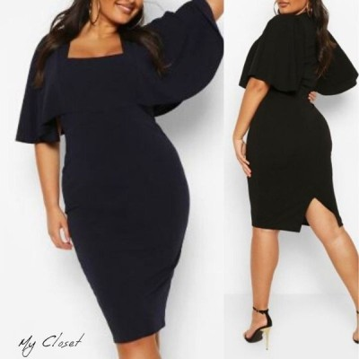 ワンピース ドレス 大きいサイズ ブーフー boohoo 五分袖 ケープスリーブ スクエアネック ミニ丈 イギリス インポート
