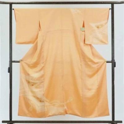 【中古】リサイクル着物 訪問着 / 正絹オレンジ地絞り袷訪問着着物 / 身丈156cm 裄65cm 前幅22cm 後幅28cm 袖丈52cm【裄Mサイズ】【ラ