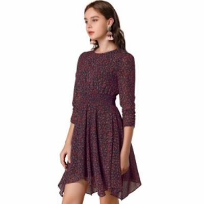 Allegra K 花柄 ワンピース シャーリング アシンメトリー 裾 七分袖 スモークドレス レディース ディープブルー L