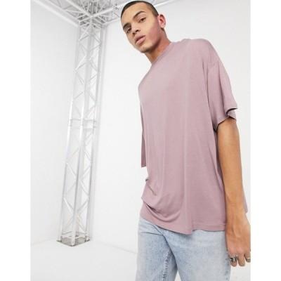 エイソス メンズ Tシャツ トップス ASOS DESIGN oversized viscose t-shirt in washed lilac Toadstool