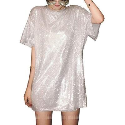 レディース 半袖 ロング丈Tシャツ キラキラ プリンプリン スパンコール ゆったり ドルマン ダンス衣装(s2111130035)