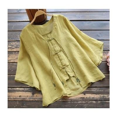 2020年 新品 夏 婦人服苧麻無地 手作りディスクボタンVネック上着復古五分袖シャツ フリーサイズYZB015