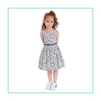 Pastourelle Girls' Sleeveless Party Dress with Waist Trim, White/Black, 2T並行輸入品