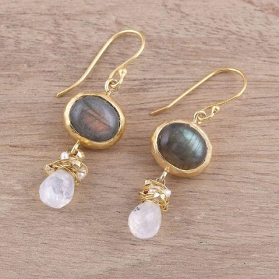NOVICA Multi-Gem Cultured Freshwater Pearl 22k Gold .925 Silver Dangle