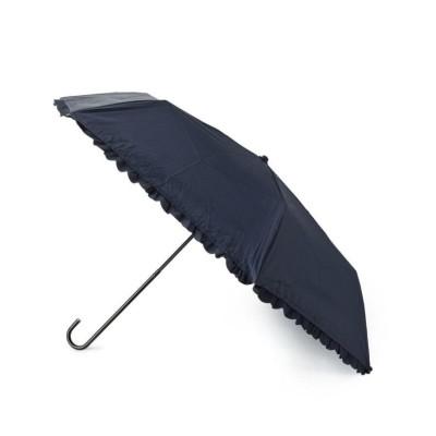 【エスペランサ】 [UV99%カット]ヒートカットフリル折り畳み傘 レディース ネイビー FREE(フリー) ESPERANZA