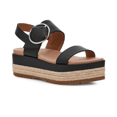 アグ サンダル シューズ レディース Women's April Espadrille Wedge Sandals Black Leather