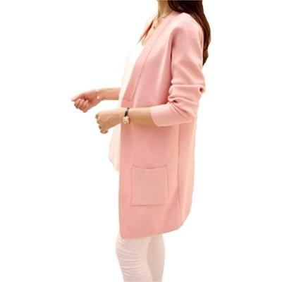 ビーコ 細見えカーディガン ミディアム丈 ボタンなし シンプル レディース(ピンク, フリーサイズ(Mサイズ相当))