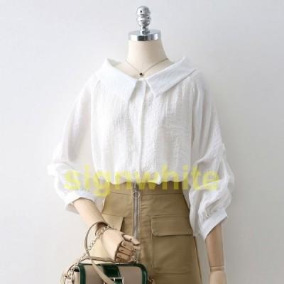 ゆったりパフスリーブシャツ清涼感薄手レディース七分袖ブラウスオフショルダーフォーマルカジュアルホワイトシフォントップス20代30代40代