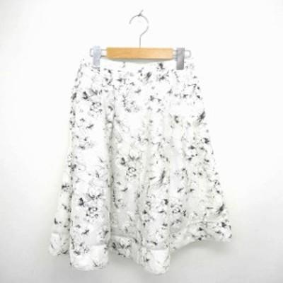 【中古】アプワイザーリッシェ Apuweiser-riche スカート フレア 膝下丈 花柄 薄手 1 オフホワイト ブラック