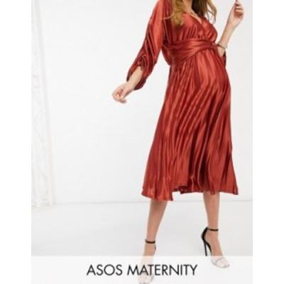 エイソス レディース ワンピース トップス ASOS DESIGN Maternity ruched sleeve satin pleated midi dress in mocha Mocha