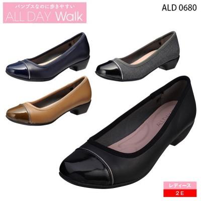 アキレス オールデイウォーク レディース パンプス 2E ALD0680 スクエアトー 3cmヒール ALL DAY Walk Achilles 靴
