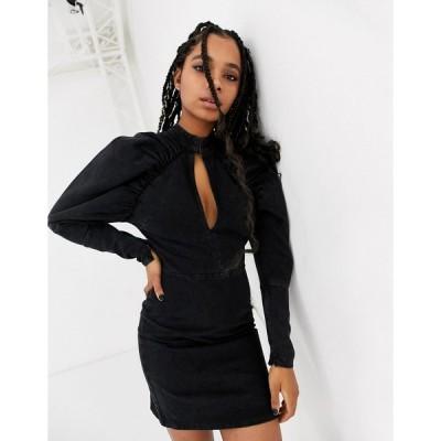 エイソス ミニドレス レディース ASOS DESIGN denim mini dress with puff sleeve in washed black エイソス ASOS ブラック 黒