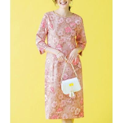 【ラナン】 繊細花柄タイトワンピース         レディース ピンク ベージュ L Ranan