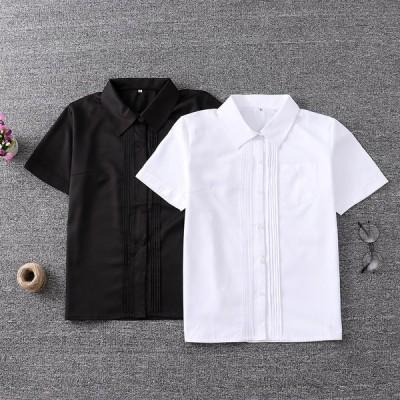新しいユニフォームポインテッドネックフロントアコーディオンシャツ半袖スクエアカラーシャツスチューデントシャツ