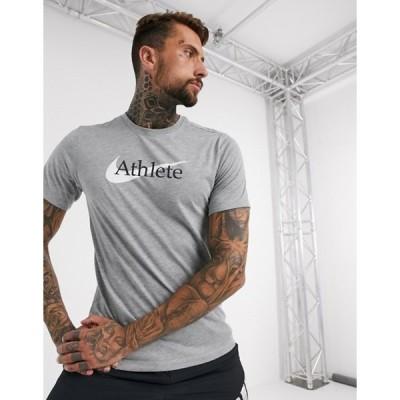 ナイキ メンズ シャツ トップス Nike Training athlete logo t-shirt in grey